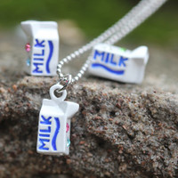 Milk box pendant earrings necklace set/Neatly into any style matching.(sterling silver POST )