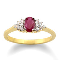 Genuine Ruby and CZ Cluster Ring