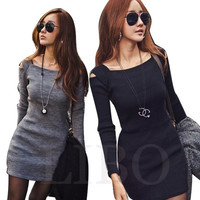 Women Dress Sexy MIni Long Sleeve Slim Fit Off Shoulder Sweater Knitwear Bodycon = 1956545604