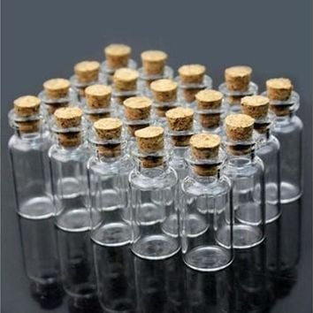 Mini 10Pcs Empty Small Tiny Clear Cork Message Glass Bottles Vials CA KP [7983577287]