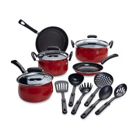 Nonstick Stainless Steel Carbon Steel 14 Piece Cookware Pots and Pans Set,Red,Black,Stainless Steel