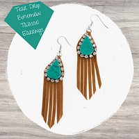 Bohemian Earrings. Rhinestones, Turquoise and Brown Faux-Suede tassels. Western Style. Earth Tone