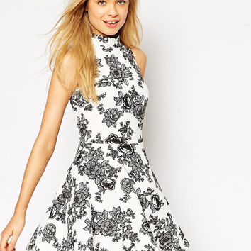 White Floral Print Sleeveless A-Line Dress