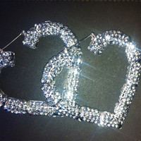 Sparkly Heart Bamboo Earrings