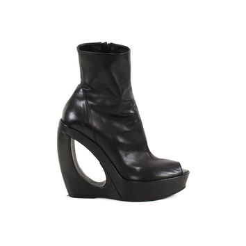 Black Leather Open Toe Wedge Boots