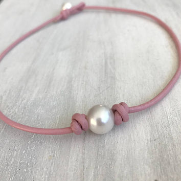 Leather pearl choker, pink leather pearl choker, toddler necklace, children's jewelry, leather pearl jewelry, teen jewelry, pink necklace