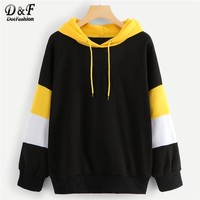 Dotfashion Drawstring Hoodie Colorblock Sweatshirt Women Casual Autumn Hooded Long Sleeve Female Multicolor Pullovers Sweatshirt