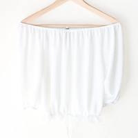 Ruffled Off Shoulder Crop Top - White
