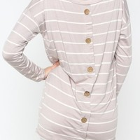 Nautical Button Back Top in Taupe - Boutique Clothing | JC's Boutique