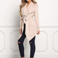 Nude Suedette Fold Over Pointed Jacket