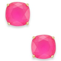 kate spade new york Earrings, 12k Gold-Plated Pink Stone Square Stud Earrings