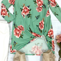 Knot My Floral 3/4 Sleeve Top {Mint Mix} Extended Sizes