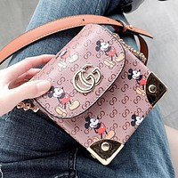 GUCCI New Women Shoppong Bag Leather Mickey Mouse Print Crossbody Satchel Shoulder Bag