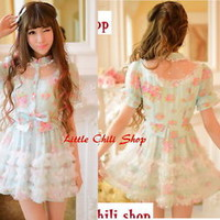 Princess Cute Kawaii Lolita Slim Chiffon Lace Wedding Party Dolly dress Onepiece