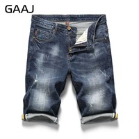 GAAJ Brand Blue Men Jeans Shorts Summer Classic Regular Pants Stretch Mens Short Straight Skinny Homme Denim Ripped HipHop Jean