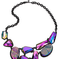 Material Girl Necklace, Black-Tone Purple Drusy Stone Statement Necklace