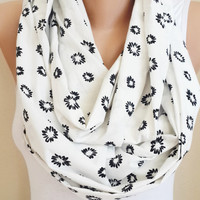 Black White Floral infinity Scarf, Flower Print, Lightweight  Soft Infinity Scarf