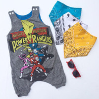 Upcycled Baby toddler infant power ranger romper outfit