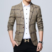new 2018 men checked suit Cultivate one's morality plaid Suit business and leisure suit