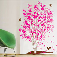 One Tree Dream Pink Flowers Birds Wall Stickers Home Decoration in Living Room adesivo de parede SM6