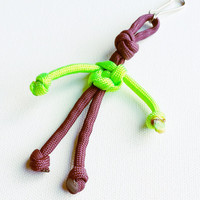 Paracord Keychain - 550 Paracord - Survival Keychains - Green & Purple Keychain - Para-Bandit - Zipper Pull - Stocking Stuffers