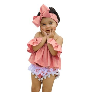 Infant Baby Girl set Off Shoulder T Shirt Tops Lace Shorts Pants Outfit baby Clothes Set girl drop shipping