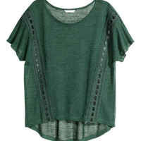 Top with Lace Inserts - from H&M