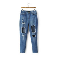 Summer Stylish High Rise Ripped Holes Denim Pants [4919988804]