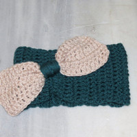 Hand Knit  Bow Headband Oversized Bow Ear Warmer Wide Knitted Headband Teal Vanilla. Winter Headband, Hair Bands Hair Coverings for Women