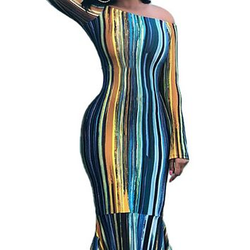 New women's sexy one-shoulder striped printed long-sleeved slim dress