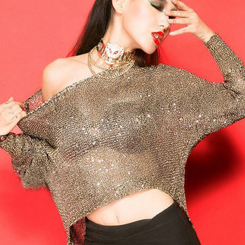 Gold Glitter Accent Long Sleeve Knitted Top