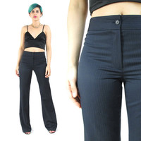 90s Pinstripe Wool Pants High Waisted Pants Navy Striped Pants Flared Trousers Business Great Fitting Womens Minimalist Trousers (S)