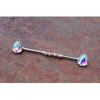 Aurora Borealis CZ Tear Drop Industrial Barbell