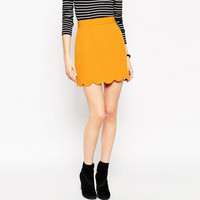 Yellow Asymmetrical Suede Skirt