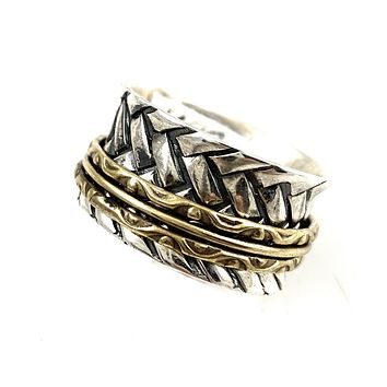 Spinner Ring - Two Tone Hashtag Spinner