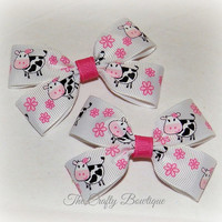 Pink Moo Cow ~ Clippie Pigtail Hair Bow Set ~ Pink and White ~ Country Girl Bows ~ Matching Girls Bows ~ Farm Girl Bows ~ Baby Hair Bows