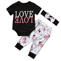 3PCS born Baby Boy Girl Clothes Summer LOVE Cotton Romper + Pant +Headband Outfit Clothing Set