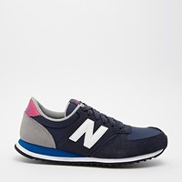 New Balance 420 Suede Mix Blue & Pink Trainers
