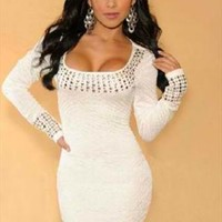 White Studded Long Sleeve Mini Dress from CocoCouture
