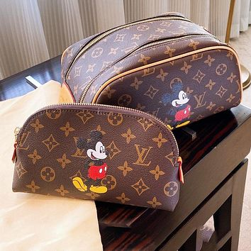 Bunchsun LV cosmetic bag Mickey mouse cosmetic bag Mickey new style coffee