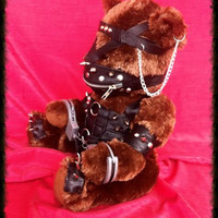 BONDAGE Toxified Bear Genuine Leather Clad Gimp Fetish Teddy Bear
