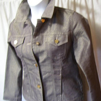 Chico's Pant Suit,Platinum,Classic Jean Jacket,Pants, MIXED SIZE, Taupe Gold Metallic, Jacket Size 1 (6-8) Pants Size .05 (6), Dressy Casual