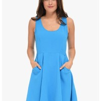 Blue Park Day Sleeveless Skater Dress | $10 | Cheap Trendy Club and Party Dresses Chic Discount Fas