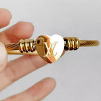 LV Louis Vuitton Hot Sale Women Men Heart Hand Catenary Couple Bracelet Jewelry Accessories