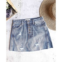 Free People - Distressed Raw Hem Denim A-Line Skirt in Indigo/Blue