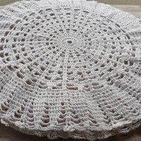4 Vintage 1960s Hand Crocheted Doilies/24 Inch Circular Hand Crocheted Doilies/Sand Colored Cotton Crocheted Doilies