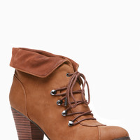 Dollhouse Cognac Collar Lace Up Ankle Booties