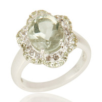925 Sterling Silver Green Amethyst, Peridot & White Topaz Cluster Cocktail Ring