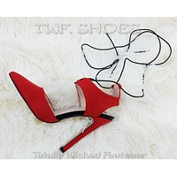 "Ricky Red Pointy Toe Elastic Wrap Around Strap 4.5"" High Heels Sandal Shoes"