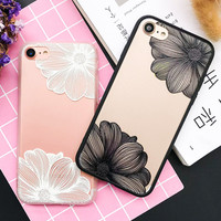 Fashion Cartoon Flower Case For iphone 7 Case For iphone7 6 6S Plus Phone Cases Classics Black White Floral Back Cover Cute Capa -0316